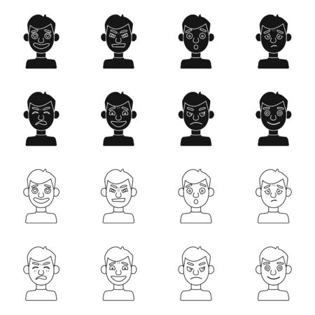 Isolated object of face and boy icon. Collection of face and human stock vector illustration.