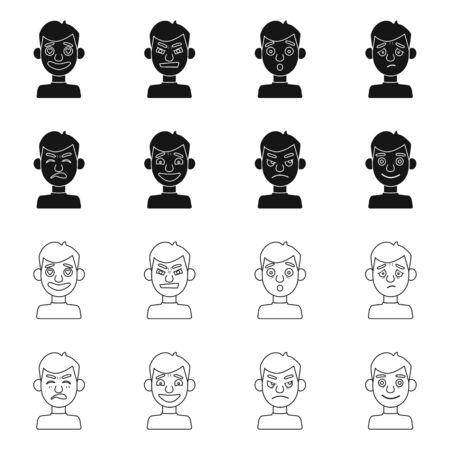 Objet isolé de l'icône du visage et du garçon. Collection de visage et d'illustration vectorielle stock humain.