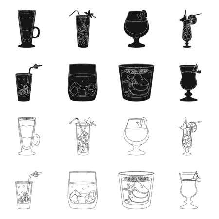 Vector illustration of liquor and restaurant. Collection of liquor and ingredient stock vector illustration.