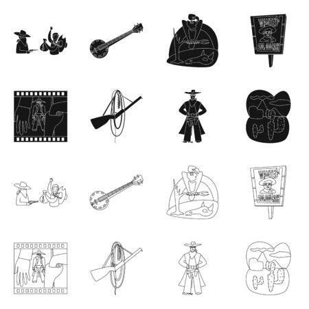 Objeto aislado de texas e historia. Conjunto de símbolo de stock de texas y cultura para web. Ilustración de vector