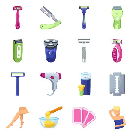 Isolated object of shaving and hygiene sign. Collection of shaving and accessories stock symbol for web. 矢量图像