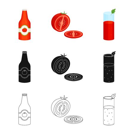 Isolated object of vegetable and delicious. Collection of vegetable and natural vector icon for stock.  イラスト・ベクター素材