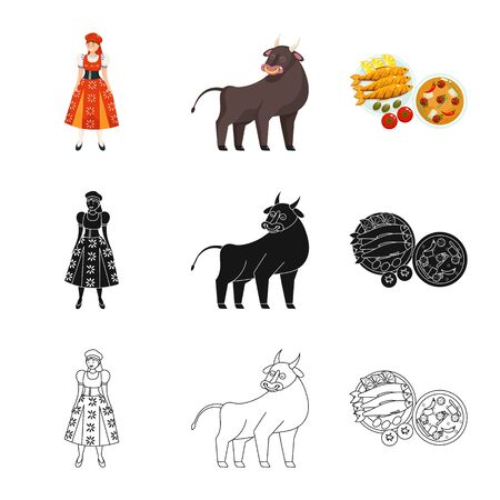 Isolated object of and historic. Set of and country stock vector illustration. Stockfoto - 130143831