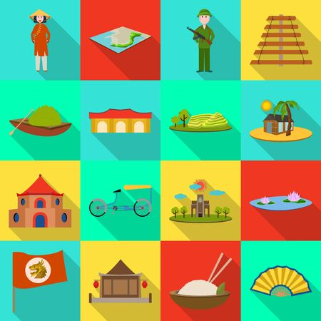 Vector design of travel and country symbol. Set of travel and asia stock symbol for web.