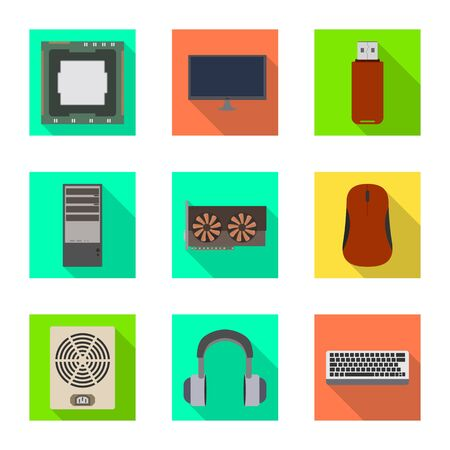 Illustration vectorielle des accessoires et signe de l'appareil. Collection d'accessoires et symbole boursier électronique pour le web.