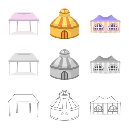 Isolated object of roof and folding symbol. Set of roof and architecture vector icon for stock. Ilustração