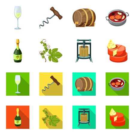 Vector design of farm and vineyard icon. Set of farm and product stock symbol for web.