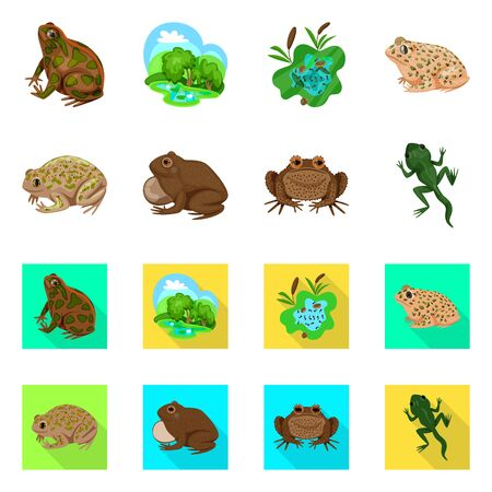 Isolated object of wildlife and bog icon. Set of wildlife and reptile stock vector illustration.