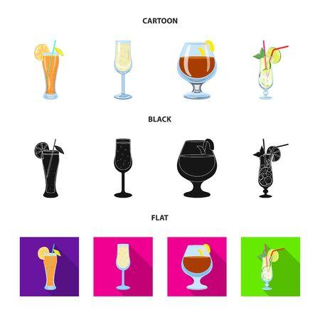 Vector design of liquor and restaurant sign. Set of liquor and ingredient stock vector illustration. 写真素材 - 130034458