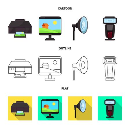 Vector design of photoshoot and work icon. Set of photoshoot and hobbies stock vector illustration.