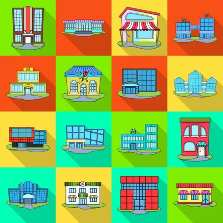 Vector design of supermarket and building symbol. Set of supermarket and local stock vector illustration.