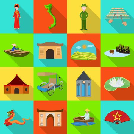 Isolated object of travel and country symbol. Set of travel and landmark vector icon for stock.