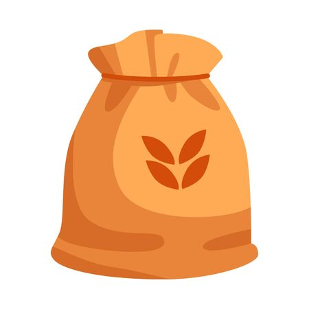 Vector illustration of bag and flour  . Collection of bag and wheat vector icon for stock. Ilustração