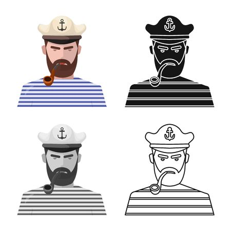 Vector design of captain and seaman symbol. Collection of captain and face stock symbol for web.
