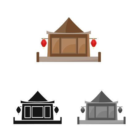 Isolated object of building and vietnam. Collection of building and place stock vector illustration.