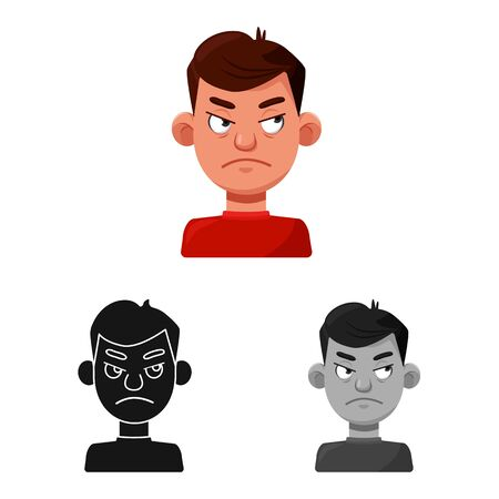 Vector design of guy and emotion icon. Set of guy and features stock vector illustration.
