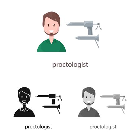 Vector design of proctologist and diagnosis sign. Set of proctologist and practitioner stock vector illustration.
