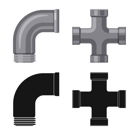 Vector design of pipe and tube icon. Set of pipe and pipeline stock vector illustration. 向量圖像