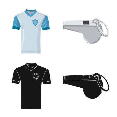 Vector illustration of soccer and gear symbol. Collection of soccer and tournament stock vector illustration.