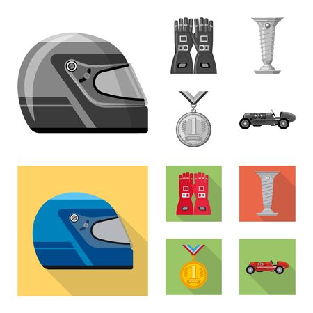 Vector design of car and rally  . Set of car and race vector icon for stock.