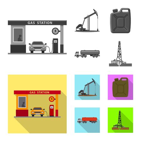 Vector illustration of oil and gas . Collection of oil and petrol stock vector illustration.