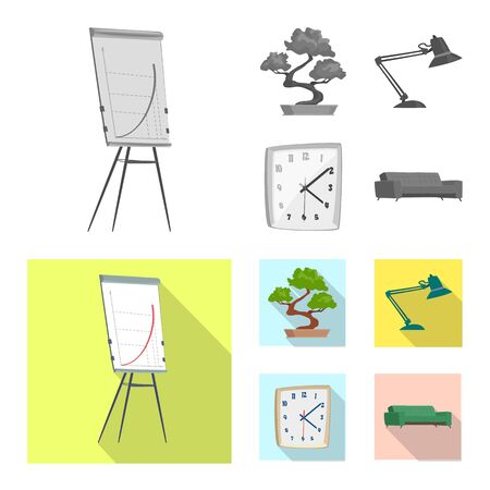 Vector illustration of furniture and work symbol. Set of furniture and home vector icon for stock.