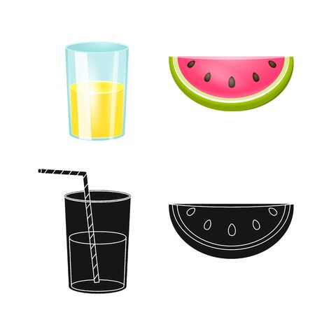 Vector design of equipment and swimming icon. Set of equipment and activity stock symbol for web.