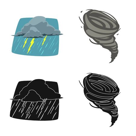 Vector design of weather and climate icon. Collection of weather and cloud vector icon for stock.