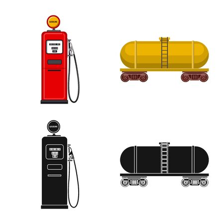 Vector illustration of oil and gas symbol. Set of oil and petrol vector icon for stock.