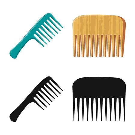 Vector design of brush and hair . Set of brush and hairbrush vector icon for stock.