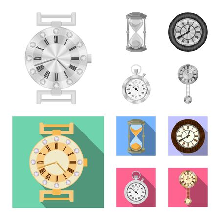 Vector design of clock and time icon. Set of clock and circle stock vector illustration.