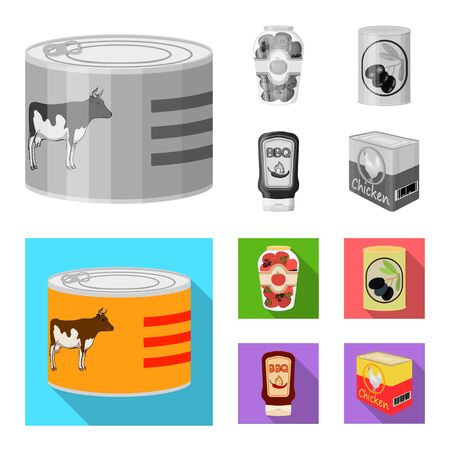 Isolated object of can and food . Collection of can and package vector icon for stock.