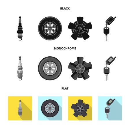 Vector illustration of auto and part icon. Collection of auto and car stock symbol for web. Foto de archivo - 130036040