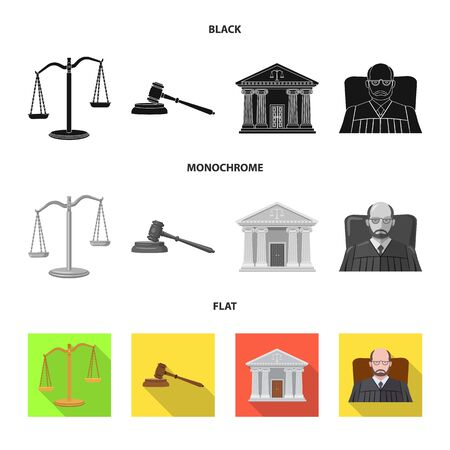 Isolated object of law and lawyer  . Collection of law and justice stock vector illustration. Stock Illustratie