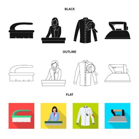 Isolated object of laundry and clean  . Set of laundry and clothes stock vector illustration.