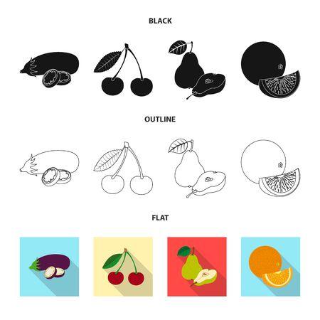 Vector design of vegetable and fruit symbol. Set of vegetable and vegetarian vector icon for stock. Ilustração