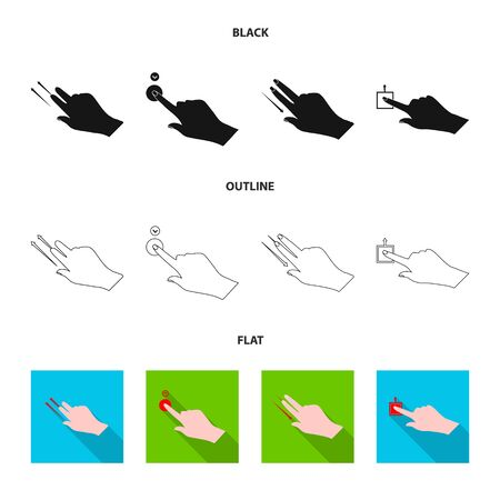 Vector illustration of touchscreen and hand sign. Set of touchscreen and touch stock symbol for web.