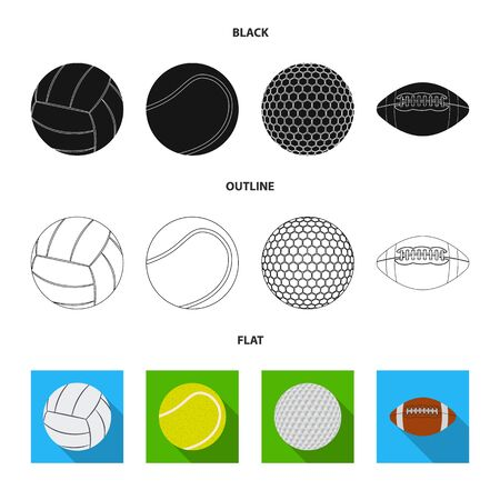 Vector design of sport and ball . Set of sport and athletic stock symbol for web.