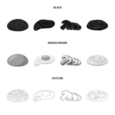Vector illustration of burger and sandwich icon. Collection of burger and slice stock vector illustration. 向量圖像