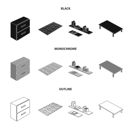 Isolated object of bedroom and room symbol. Set of bedroom and furniture vector icon for stock.