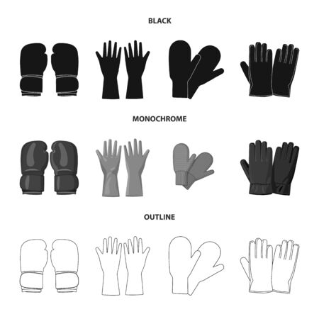 Vector illustration of glove and winter icon. Collection of glove and equipment vector icon for stock. Çizim