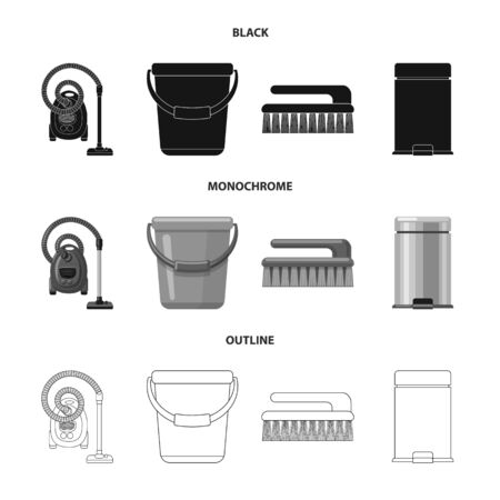 Isolated object of cleaning and service sign. Set of cleaning and household stock symbol for web. Illustration