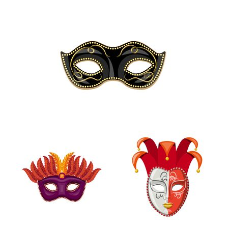 Isolated object of carnival and theatrical sign. Set of carnival and mystery vector icon for stock.