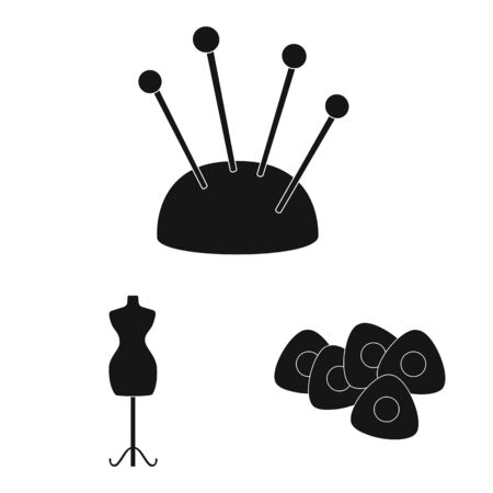 Vector design of studio and industry. Set of studio and sewing stock symbol for web. Çizim