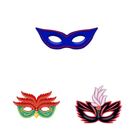 Vector design of carnival and theatrical symbol. Set of carnival and mystery stock symbol for web. Иллюстрация