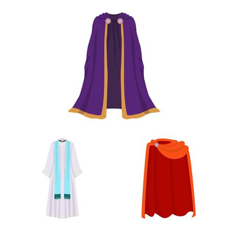 Vector design of cloak and clothes icon. Set of cloak and garment stock symbol for web.