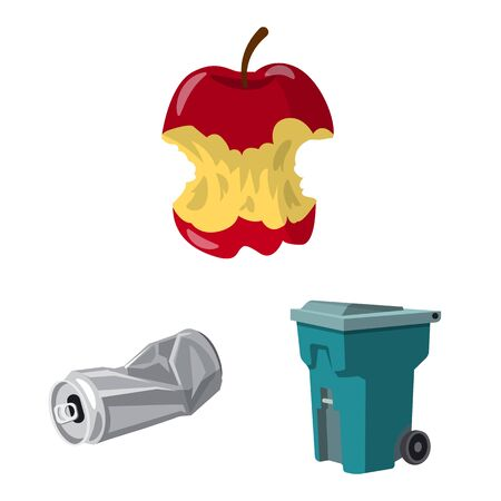 Vector illustration of environment and waste symbol. Collection of environment and ecology stock symbol for web. Imagens - 130041119