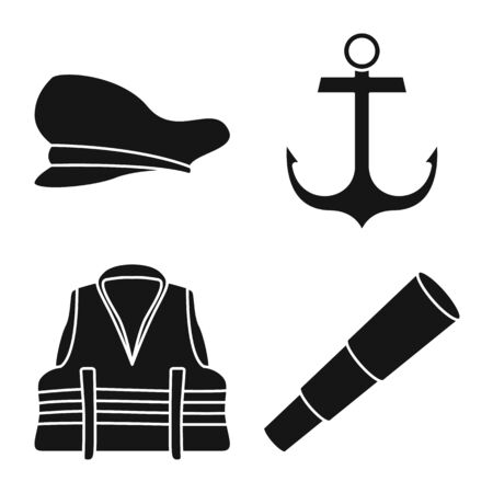 Isolated object of attributes and vintage icon. Collection of attributes and sea vector icon for stock. Stock Illustratie