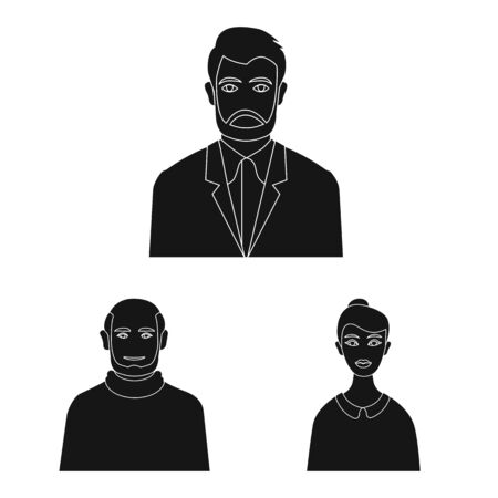 Vector illustration of photo and character icon. Set of photo and face stock symbol for web.