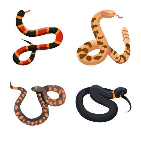 Vector illustration of snake and creepy logo. Collection of snake and danger stock vector illustration.